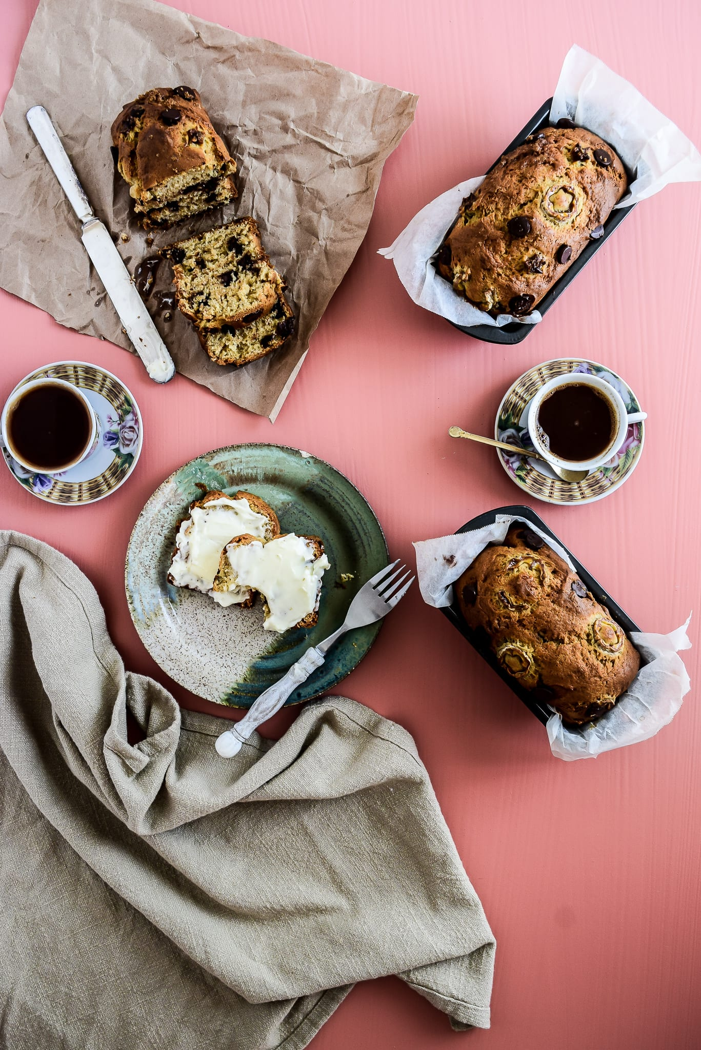 chocolate chip banana bread posh plate