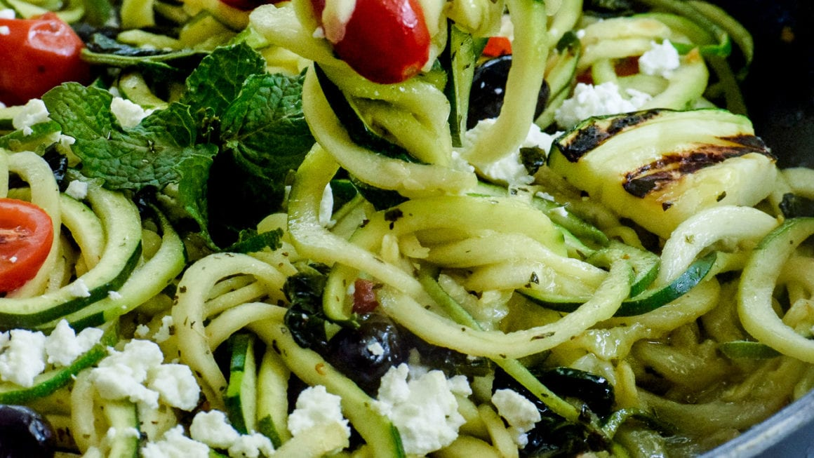 Mediterranean Zoodles with Crumbly Bulgarian Feta Cheese.