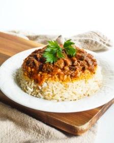 Turkish meat with rice etli pilav