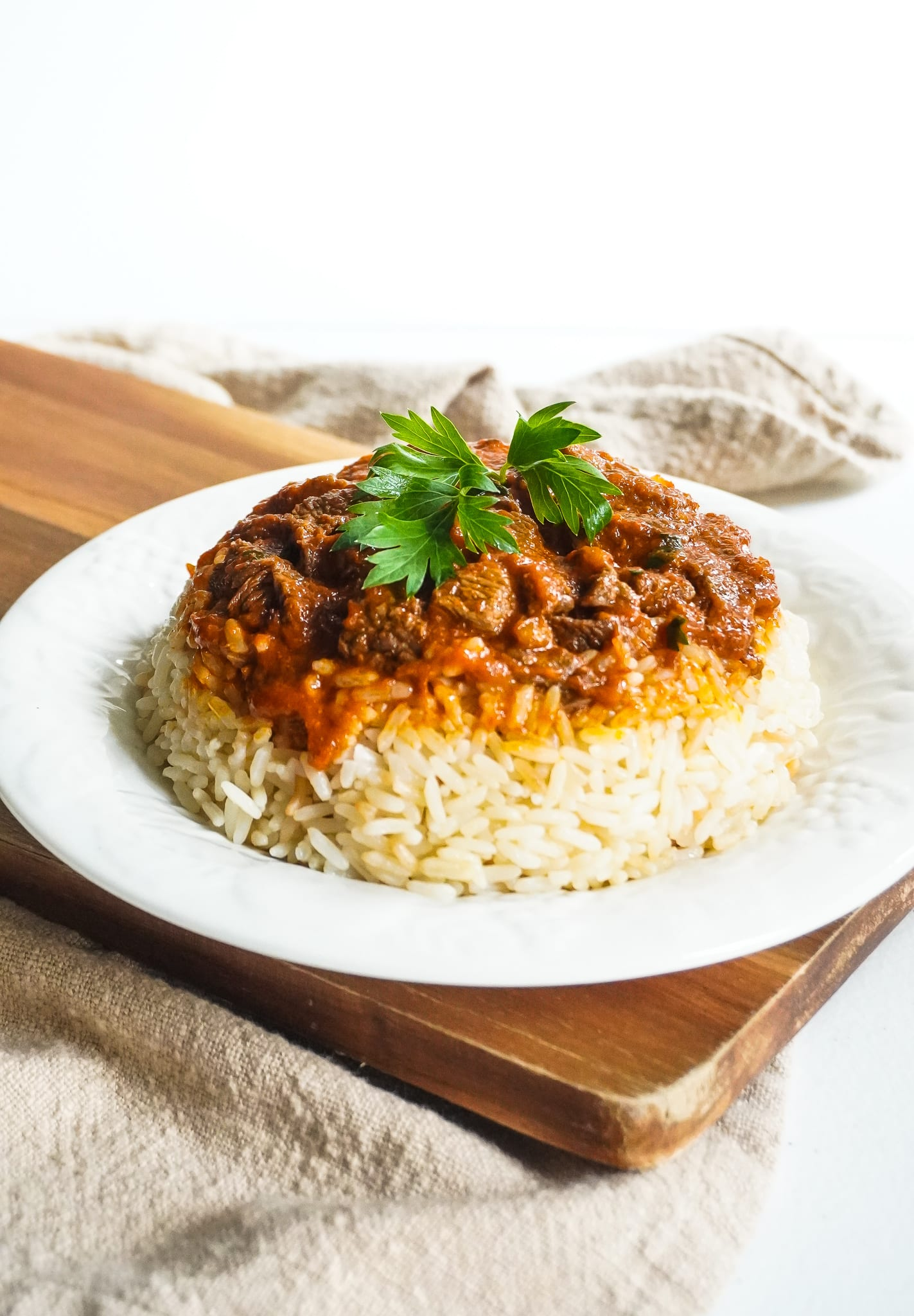 Turkish meat with rice etli pilav