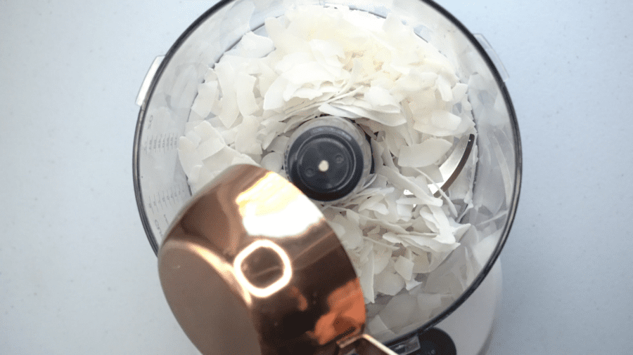 coconut flakes in a food processor