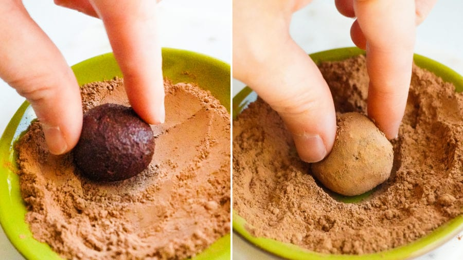chocolate truffles rolled in cocoa process