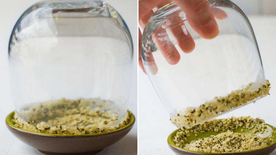 a glass rim dipped in hemp seeds