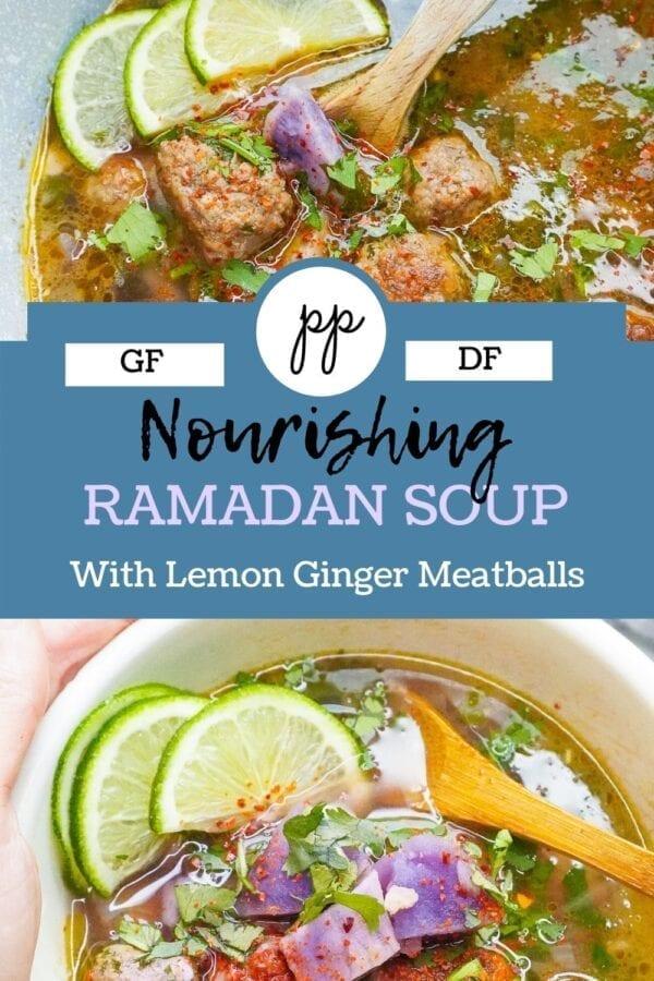 Nourishing halal Ramadan Soup with lemon and ginger