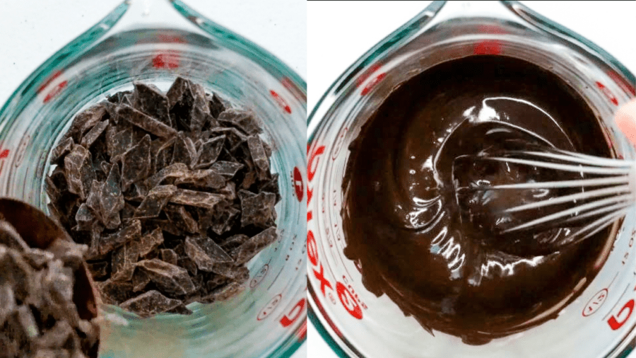 melted chocolate in a pyrex glass