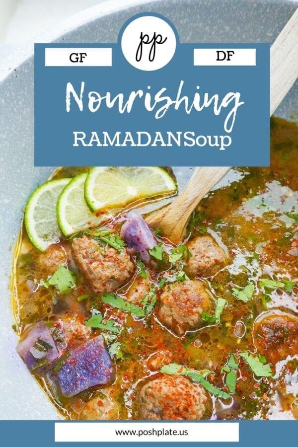 a pot of halal meatball soup Pinterest pin.