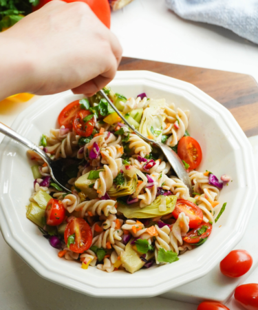 cold gluten-free pasta salad in a bowl posh plate
