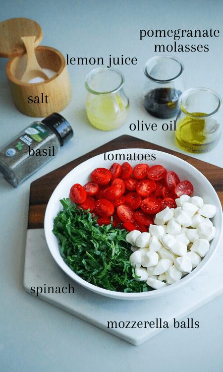 ingredients to make an italian Caprese salad recipe