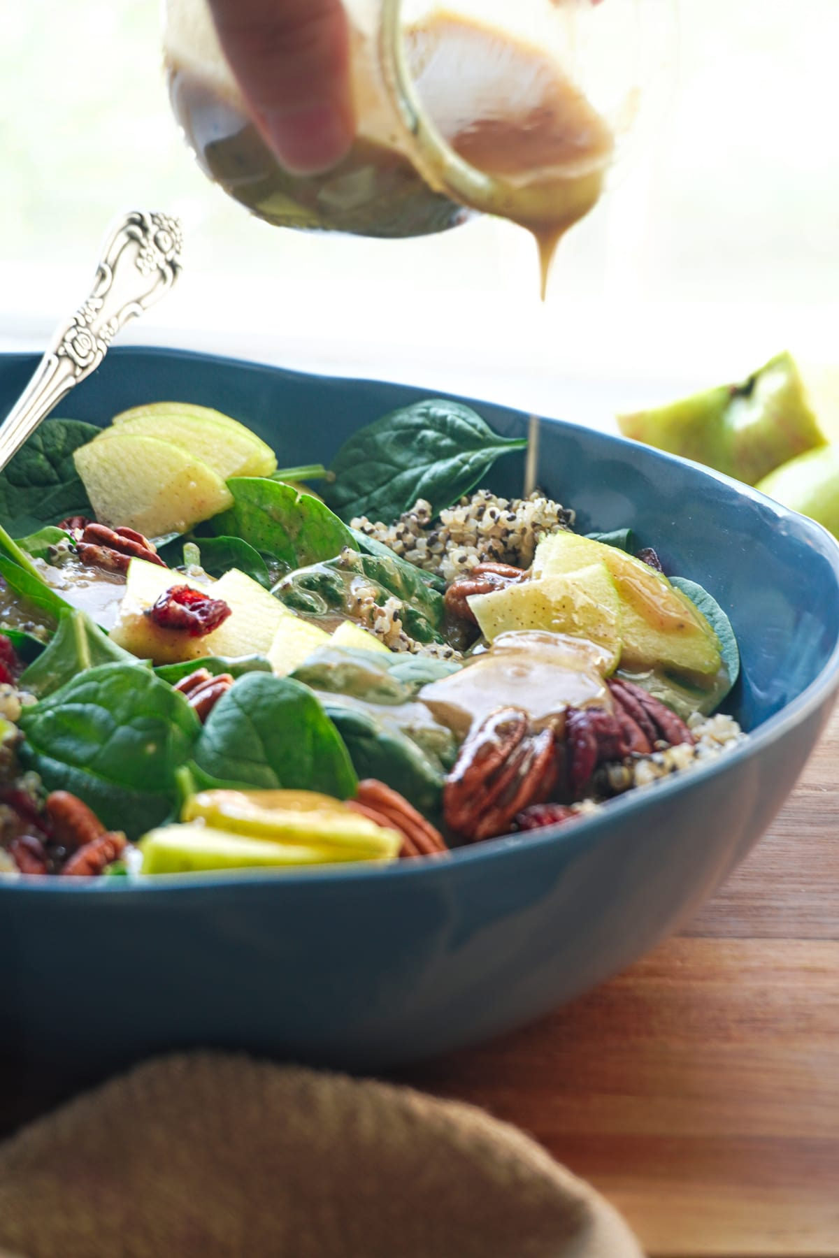 fall spinach salad recipes with apples and pecans.