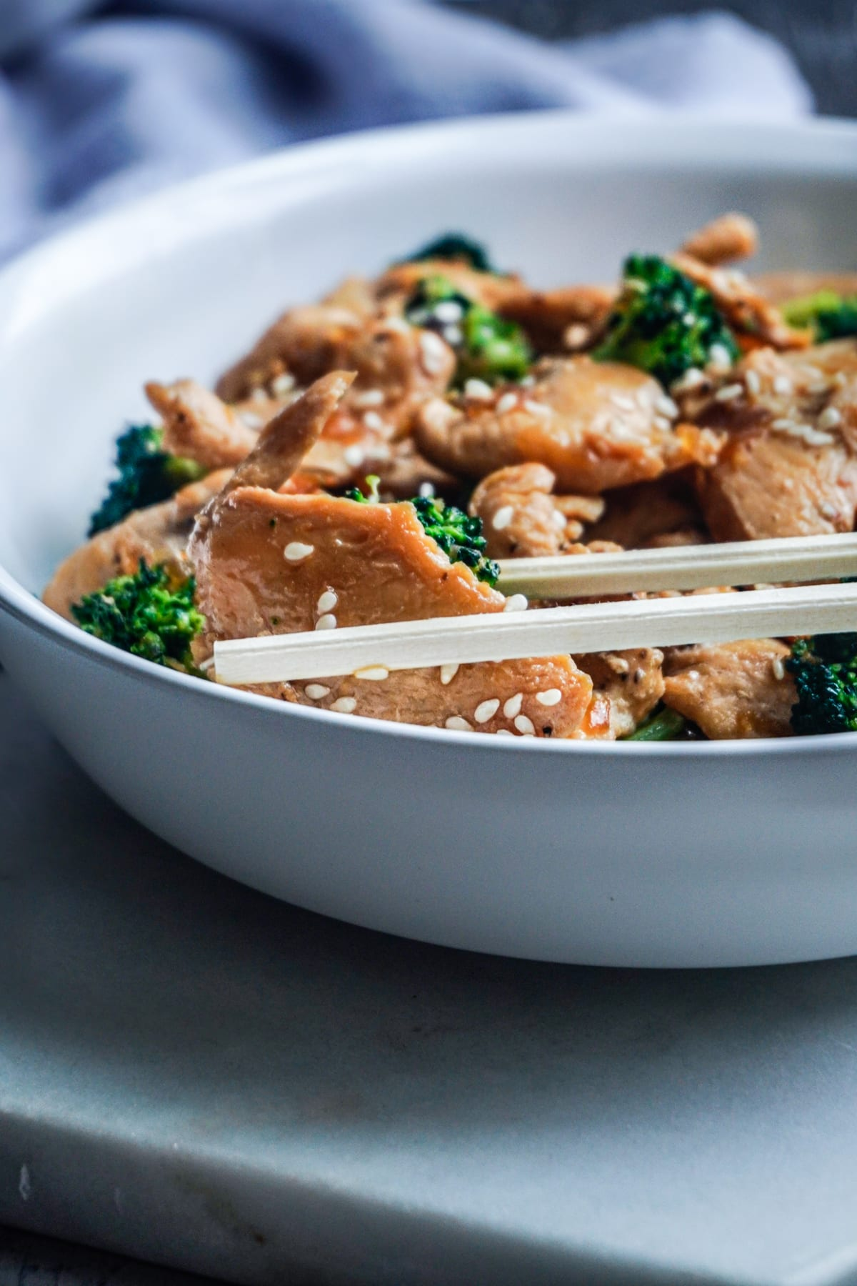 Chinese chicken and broccoli with chopsticks