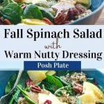 nourishing Fall Spinach Salad. The fresh apples add a nice tartness, the pecans are perfectly crunchy, and the warm sweet allspice dressing really pulls off cozy fall vibes. Lastly, there is fluffy quinoa with a healthy serving of chia seeds.