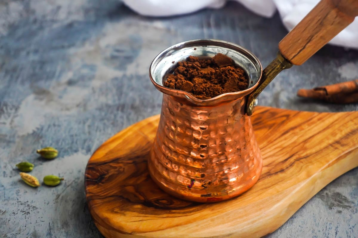 A Turkish coffee pot know as a cezve and Turkish coffee