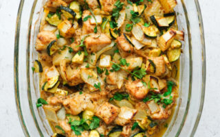 healthy baked chicken and zucchini